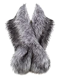 "BABEYOND Womens Faux Fur Collar Shawl Faux Fur Scarf Wrap Evening Cape Winter Coat 47.2"" (Gray)"