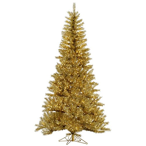 Gold Christmas Tree (Vickerman Gold/Silver Tinsel Artificial Christmas Tree with 700 Clear Mini Lights, 7.5' x 48