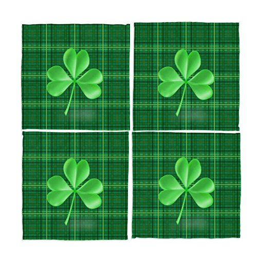 Naanle Green Plaid St Patrick's Day Shamrock Washable Placemats 12 X 12 Inches Set of 4 Place Mats for Dining ()