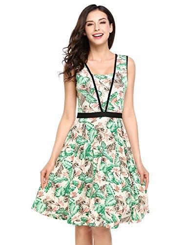 ACEVOG Damen Elegant Kleid Sommerkleid Knielang mit Kurzarm Rockabilly  Kleid Blumenkleid Ärmellos Stretch Skaterkleid Strandkleid Partykleid fe3a1276ad