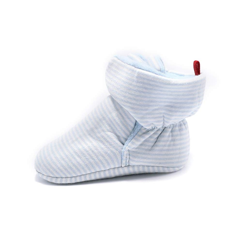 Color : Blue stripe, Size : 11cm Jakiload Baby Cozy Fleece Booties Unisex Baby Fleece Lined Cozy Booties Non-Skid Toddler Slippers Infant Winter Warm Socks Shoes with Non Skid Bottom