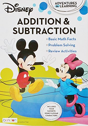Educational Workbook Disney - Addition & Subtraction Math Problem Solving (Learn School Homeschool Practice Foundational Skills - Fun!) ()