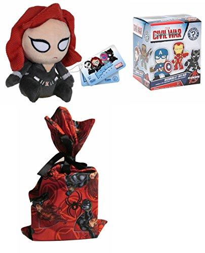 Funko Mopeez Plush: Captain America 3: Civil War, Black Widow + (1) Funko Mystery Minis Vinyl Figure + (1) Handmade Reusable Gift Bag Pouch Bundle