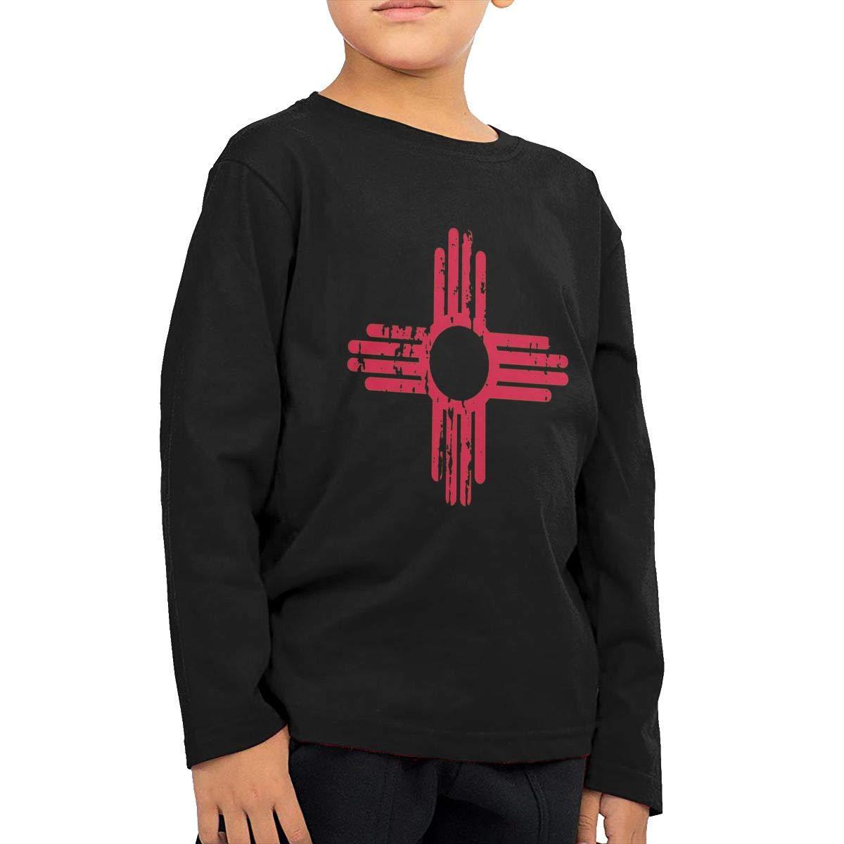 CY SHOP New Mexico Sun Symbol Childrens Boys Cotton Long Sleeve T Shirts