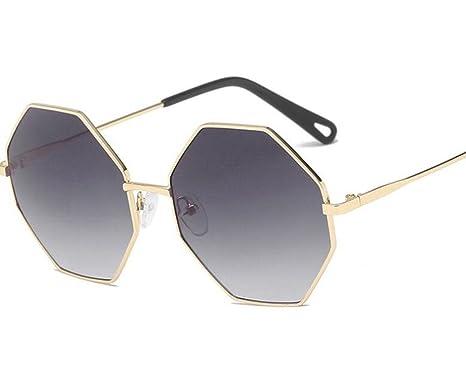 KUKI Occhiali da sole poligono irregolari Occhiali da sole universali moda hipster con montatura in metallo , 5