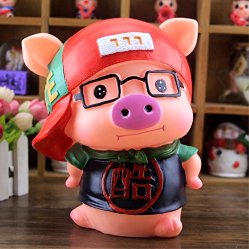 Kawaii Cute Pig Piggy Bank Resin Personalized Baby Nursery Decor Home Furnishing decoration Wear glasses Cool by GH8