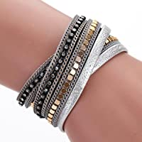 AutumnFall Women Bohemian Bracelet Woven Braided Handmade Wrap Cuff Magnetic Clasp (Gray)