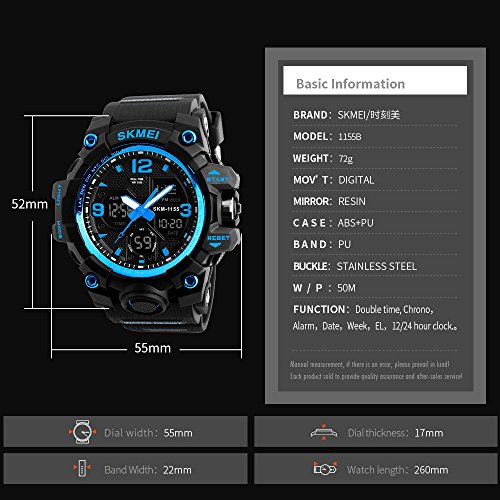 Men's Watches Sports Outdoor Waterproof Military Wrist Watch Date Multi Function Tactics LED Alarm Stopwatch