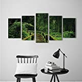 Nalahome African Dancers Abstract Oil Paintings Jungle Fresh Tropica Thailand with Wooden Bridge Foliage Meditation Calm Fabric Set with Hooks Green for Wall Decorations Home Decor
