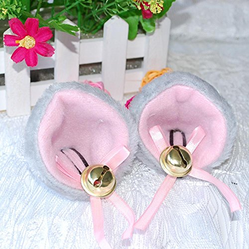 ORYOUGO Fashion Sweet Lovely Anime Lolita Cosplay Halloween Party Anime Costume Cat Fox Ears Hair Clip with Bell,Grey