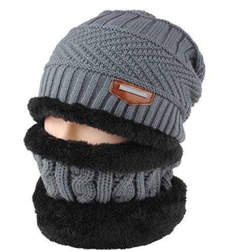 Hombres Mujeres Lana Punto Unisex Beanie DELEY Sombrero Cap De Gris De Cálido Gorro Forro Polar Skullies Invierno qwR5p5SEx