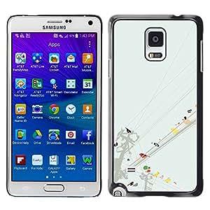 iKiki Tech / Estuche rígido - Watercolor Minimalist Pastel - Samsung Galaxy Note 4 SM-N910F SM-N910K SM-N910C SM-N910W8 SM-N910U SM-N910