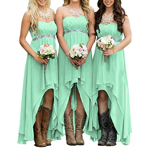 (EUMI Chiffon Bridesmaid Dresses High Low Strapless Country Bridal Wedding Party Gowns, Mint 8)