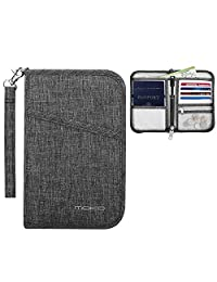MoKo Travel Wallet Passport Holder, Family Passport Holder Cover RFID Blocking Document Organizer Case for Men & Women, Black
