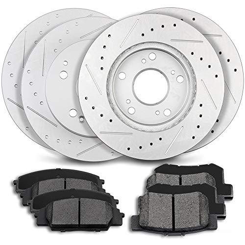 ECCPP 4pcs Front Rear Discs Brake Rotors and 8pcs Ceramic Disc Brake Pads fit for 2002 2003 2004 2005 2006 Acura RSX 2.0L 3.0L ()