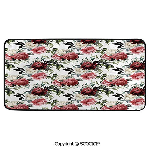 (Rectangular Area Rug Super Soft Living Room Bedroom Carpet Rectangle Mat, Black Edging, Washable,Watercolor,Botanical Arrangement with Soulful Rose and Peony Corsage,39