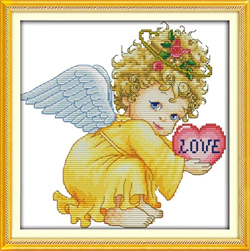 LanMent Angel Baby Girl Stamped Cross Stitch 14CT Counted Kits Cross-Stitching Pattern Embroidery for Beginner Adults Home Decor Birthday Gift 10.7 x 10.7 Inches