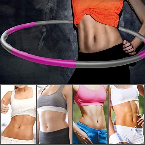 Fitness Exercise Weighted Hoops, Premium Soft Padding Weighted Hoop for Adults Weight Loss, 8 Sections Adjustable Adult and Children Detachable Workout Fitness Hoops 2