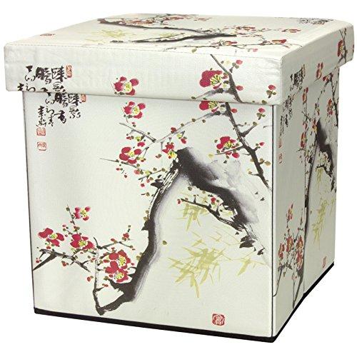 ORIENTAL Furniture Cherry Blossom Storage Ottoman ()