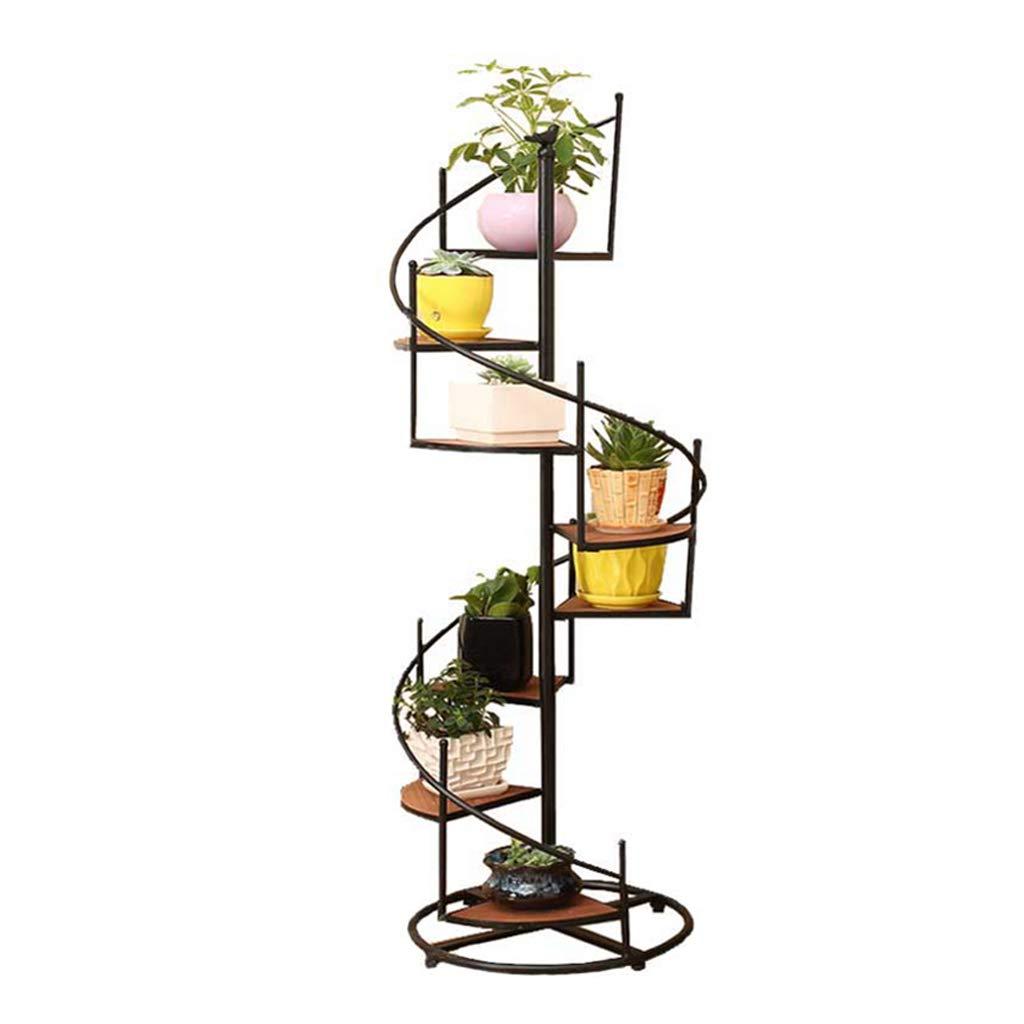 LWG-Stand Plant Iron Art Fiori Rack Multistrato Ruota Scaletta Pianta Espositore da Terra Assemblaggio da Terra Supporto Stabile 6 Tier   8 Tier