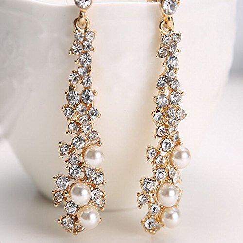 Crystal Women's Pearl Rhinestone Dangle Chandelier Earrings Bridal Gold Jewelry