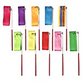 10 Colors 2 Meters Art Artistic Ballet Gymnastic Rhythmic Dance Dancing Ribbons Streamers with Wand Twirling Rod Stick for Kids