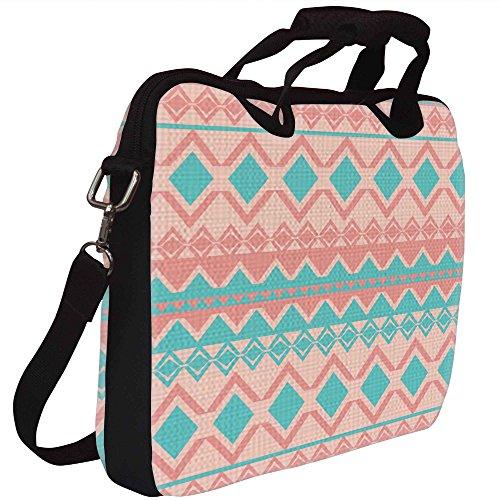 Snoogg Hellrosa And Blue Aztec Gedruckt Notebook-Tasche mit Schultergurt 15 bis 15,6 Zoll