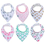 Baby Bandana Drool Bibs for Girls 6 Pack of Absorbent Cotton Baby Gift Set By Mumby