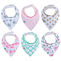 Baby Bandana Drool Bibs for Girls 6 Pack of Absorbent Cotton Baby Gift Set By...