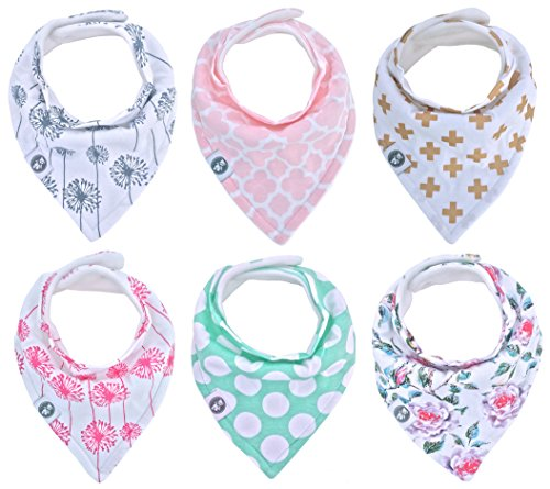 Price comparison product image Baby Bandana Drool Bibs for Girls 6 Pack of Absorbent Cotton Baby Gift Set By Mumby