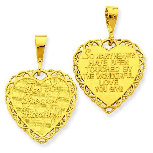 Reversible Grandma Heart Charm - 14K Gold Reversible For A Special Grandma Heart Charm