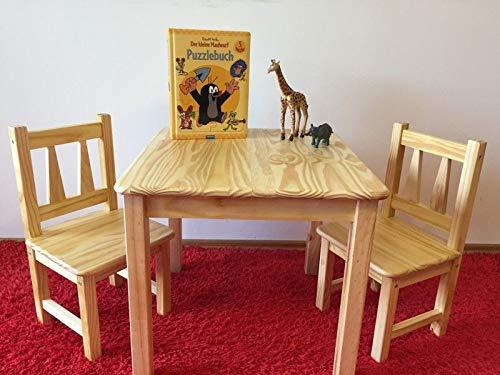 naturholz-shop Kindersitzgruppe Kindertischgruppe Holz Kiefer Massiv 1Tisch, 2 Stü hlen