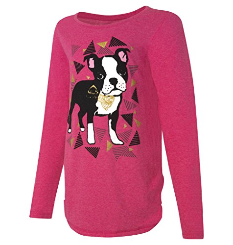Boston Kids T-shirt (Hanes Girls' Long-Sleeve Shirred Shirttail Graphic Tee, Dog Jazzberry Pink Htr, XS)