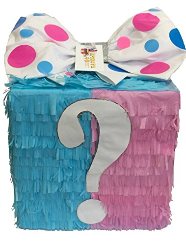 APINATA4U Mystery Gift Box Gender Reveal Pinata Traditional & Pull Strings (Gender Reveal Box With Balloons)