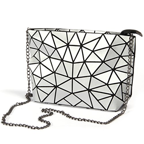 HotOne Fashion Geometric Metal Chain Shoulder Bag PU leather Women purse Handbag (Metallic Silver) ()