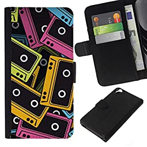 All Phone Most Case / Oferta Especial Cáscara Funda de cuero Monedero Cubierta de proteccion Caso / Wallet Case for HTC Desire 820 // Audio Tapes Illustration