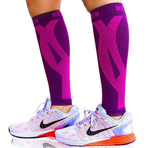 BLITZU Calf Compression Sleeve Socks One Pair Leg Performance Support for Shin Splint & Calf Pain Relief. Men Women Runners Guards Sleeves for Running. Improves Circulation and Recovery Purple S/M
