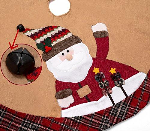 iPEGTOP 42'' Christmas Tree Skirt - Santa Xmas Tree Skirt Holiday Decoration Ornaments Camel Non-woven & Tartan Border by iPEGTOP (Image #1)