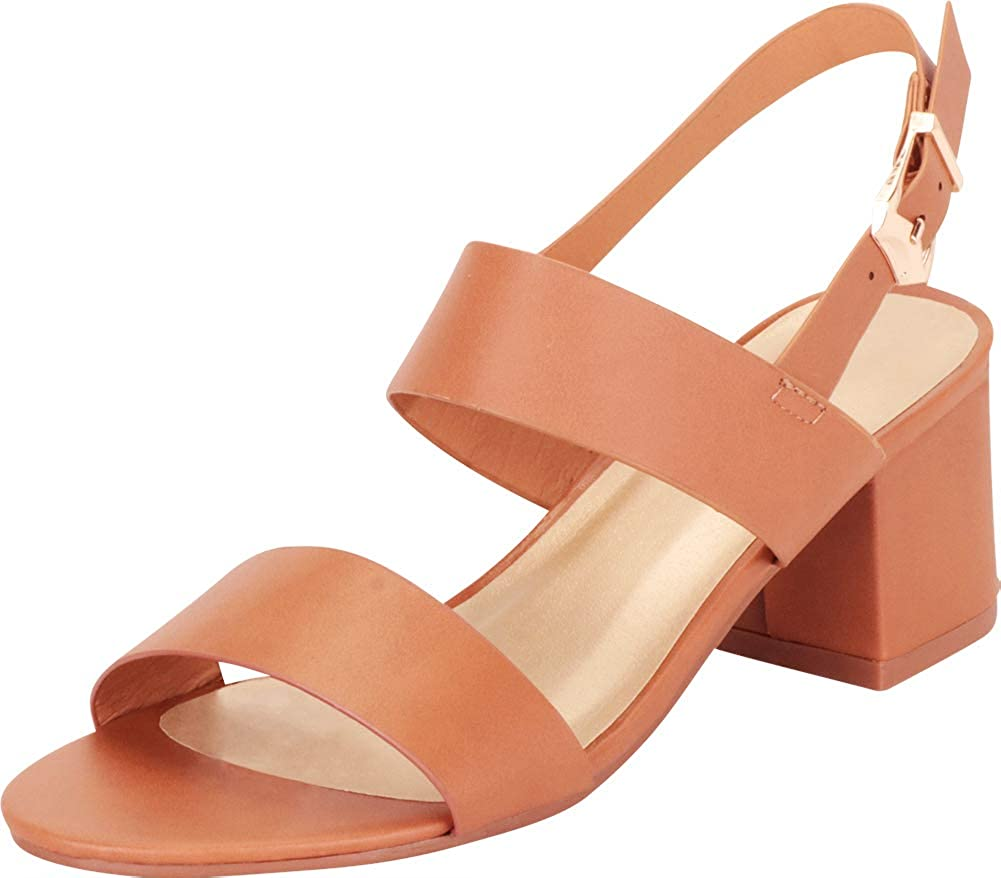Tan Cambridge Select Women's Open Toe Slingback Chunky Stacked Block Heel Sandal