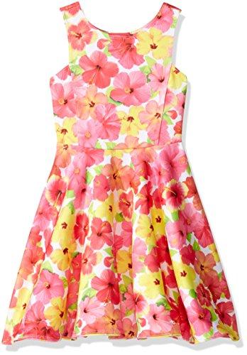 Girls Paradise Island - Kate Mack Big Girls' Paradise Island Scuba Dress, Multi, 12