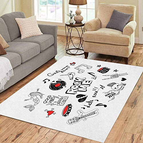 Semtomn Area Rug 5' X 7' Cool Large of Retro 90S Funny Teen Rock Drawings Home Decor Collection Floor Rugs Carpet for Living Room Bedroom Dining Room ()
