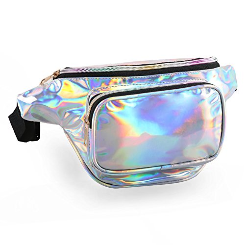 (MUM'S MEMORY Holographic Fanny Packs for Women - Outdoor Sport Waist Pack for Running, Hiking, Traveling for Men (Silver))
