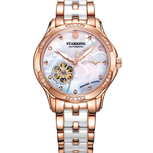 STARKING Watch Ceramic Self Winding Woman Watch Automatic Sapphire AL0231 Mother of Pearl Silver Lady Dress - Dial Silver Watch Automatic Womens