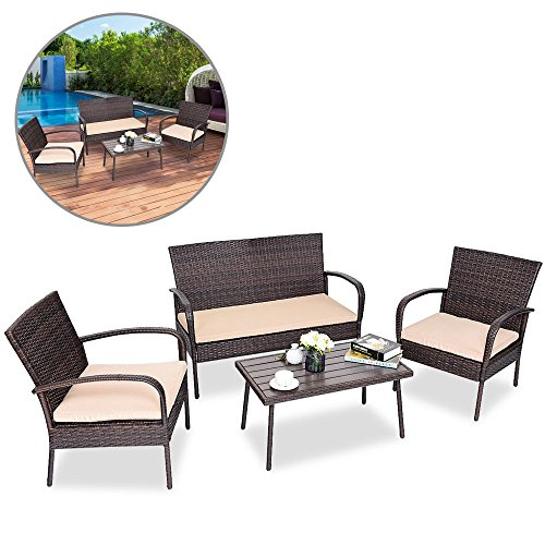 Rattan Outdoor Patio Furniture Set - 4 Wicker Pieces, 1 Table, 2 Chairs & 1 Loveseat Couch Sofa W/ Seat Cushions - Modern All Weather Design - Outside Garden Front ()