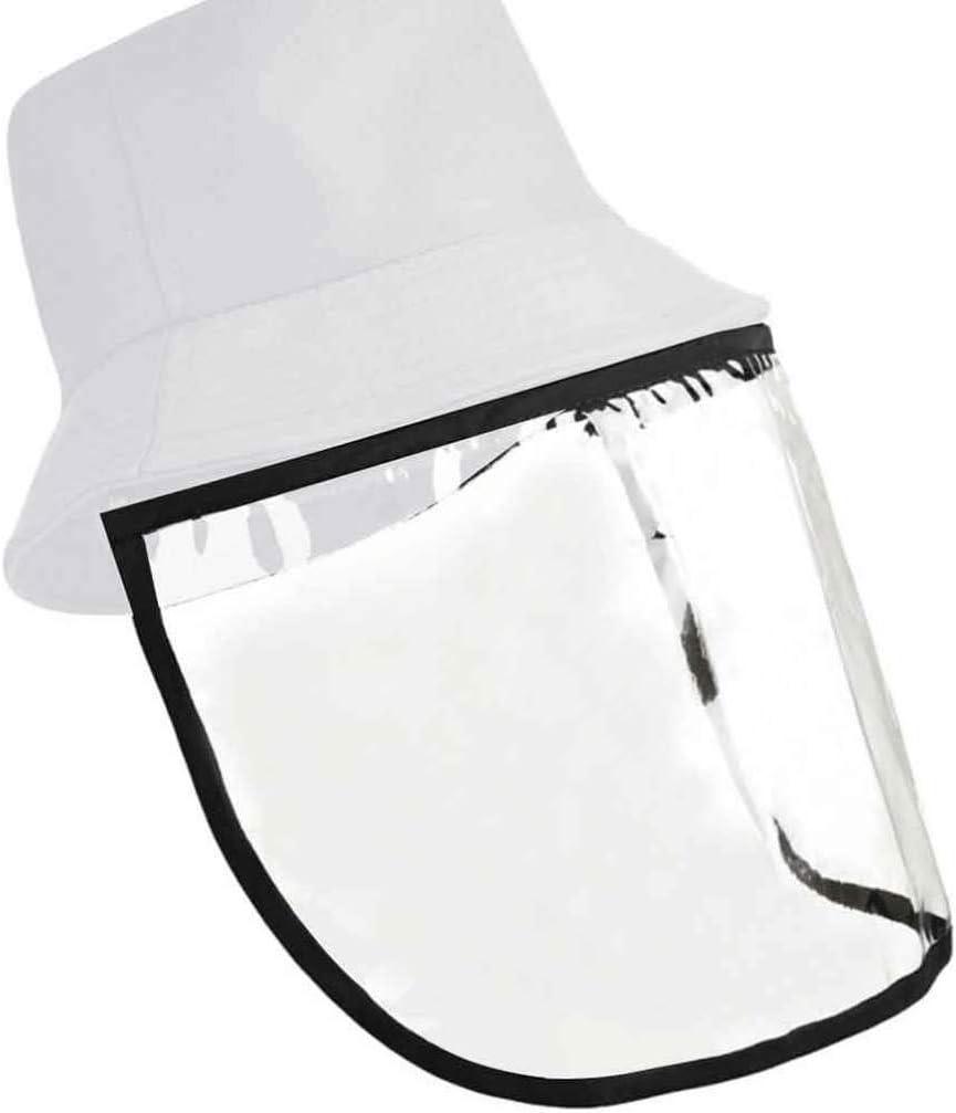 DOITOOL Cubo Antisaliva Sombrero para El Sol Protector Facial Transparente Desmontable de Cara Completa Tapa Protectora Gorra de Pesca a Prueba de Viento Antivaho A Prueba de Polvo Blanco