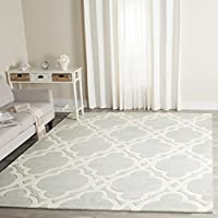 Safavieh Chatham Collection CHT762E Handmade Grey and Ivory Premium Wool Area Rug (5 x 8)
