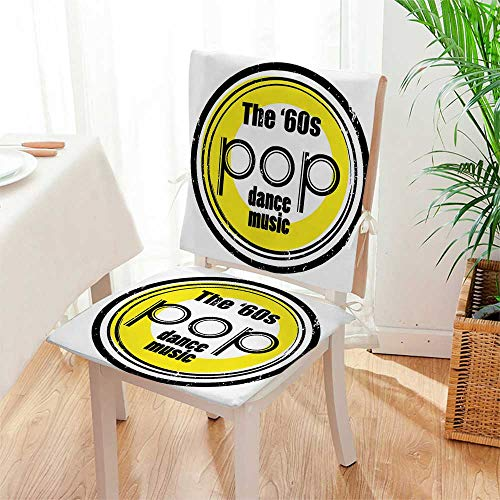 Mikihome Chair Pads 2 Piece Set Collection Party Music Night Club Bar Band Pop Dance Performance Festival Good Old Classic Desig Bistro Chair Cushion Mat:W17 x H17/Backrest:W17 x H36 by Mikihome (Image #3)