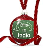 Christmas Decoration Green Sign Welcome To Indio Ornament