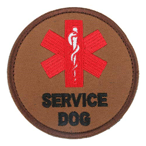 Neoprene Digital Armband - Brown Service Dog Embroidered Applique Patches Sew on Jackets Bags Hats