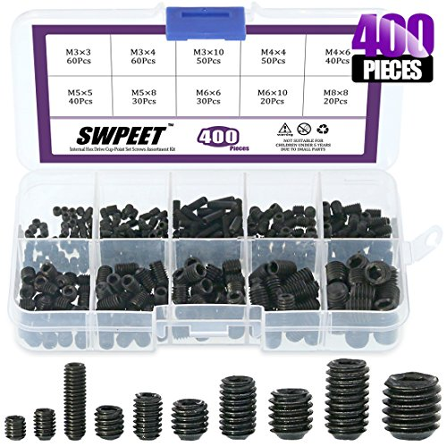 Swpeet 400 Pcs Allen Head Socket Hex Grub Screw Assortment Kit, Including 10 Sizes M3/4/5/6/8 Internal Hex Drive Cup-Point Set Screws for Door Handles, Faucet, Light Fixtur - Set Screw Sizes